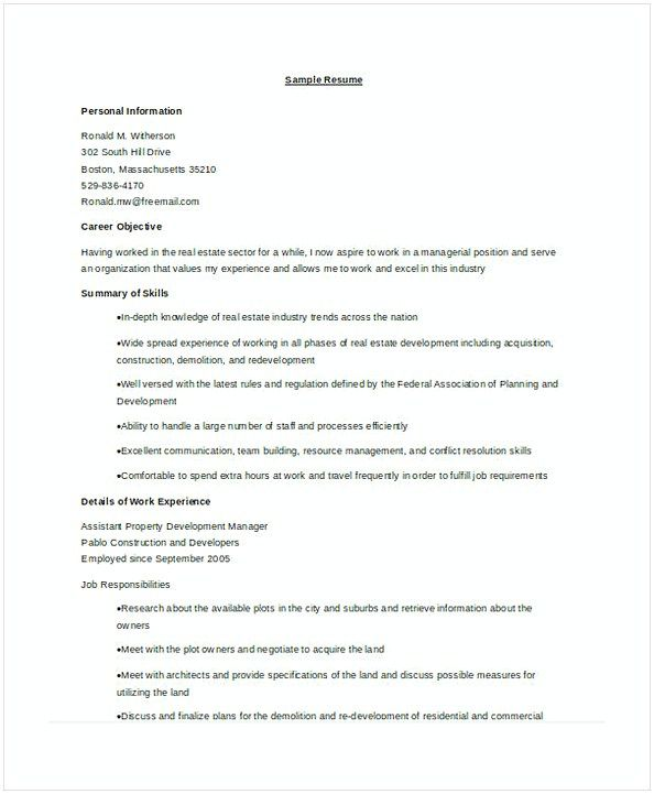 Property Development Manager Resume  Assistant Property Manager
