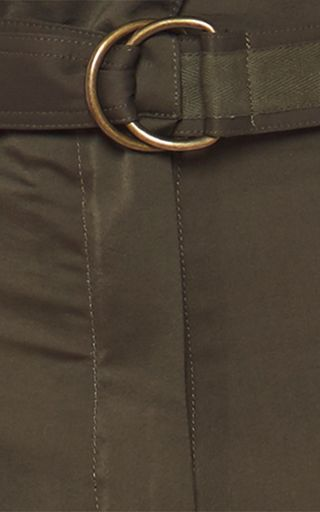 Military Green Polyester Matte Satin Trousers by ROBERTO CAVALLI for Preorder on Moda Operandi