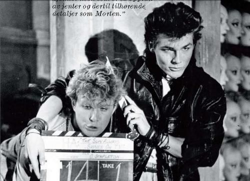 """Picture of a-ha — AHEUHUAHEUHAHUAHEHUA!!!  Mags and Morten, during the recordings of """"The Sun Always Shines on TV"""""""