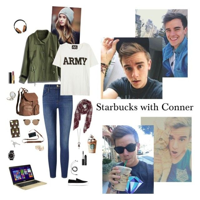 """""""Starbucks with Conner"""" by dr-hopepotterwho on Polyvore featuring Sole Society, Lipsy, Chicwish, Frame Denim, NLST, H&M, Linda Farrow, MCM, Briston and ASUS"""