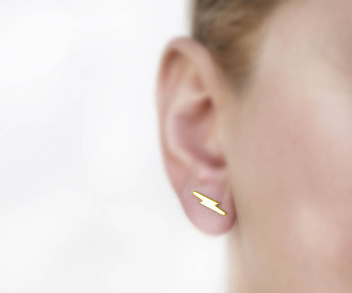bb3378319 Lightning earrings, YELLOW GOLD, golden earrings, minimalist studs, tiny  post earring, men jewelry, bolt earring, small stud, simple jewelry by  largentolab ...