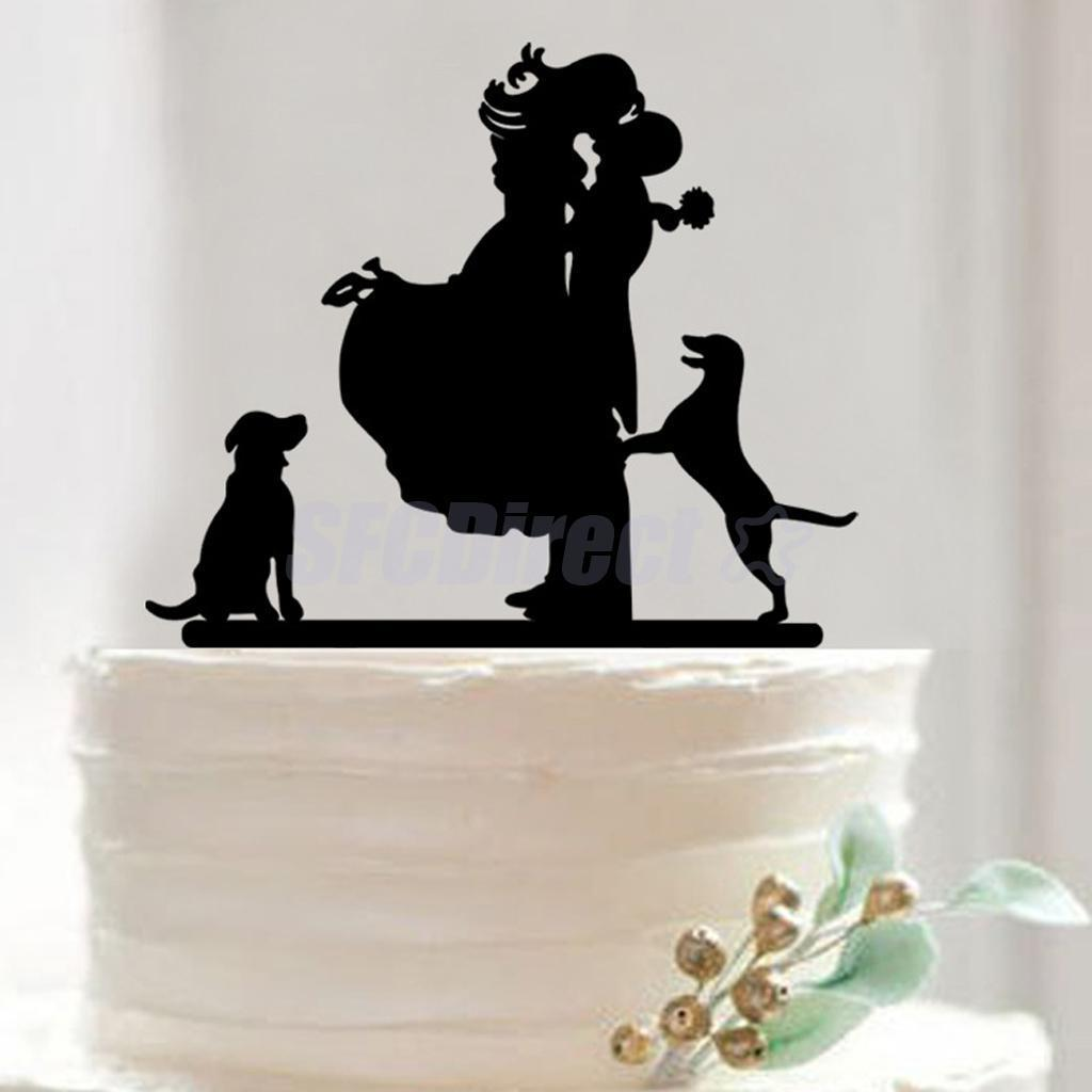 Acrylic wedding cake topper bride u groom kissing w dog romantic
