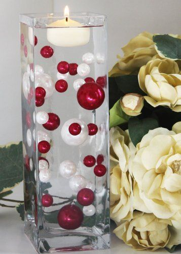 Weddings and Centerpieces Easy Elegance by JellyBeadZ With 12 grams Clear water bead gel so They Will Float 34 Oversize Red Pearl Beads