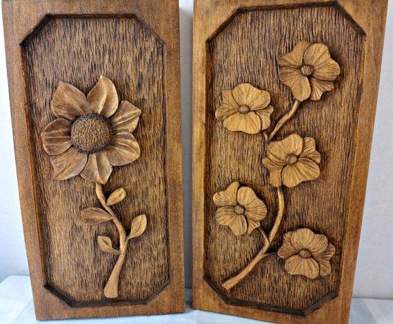 Talladas a mano vintage colgante de pared madera