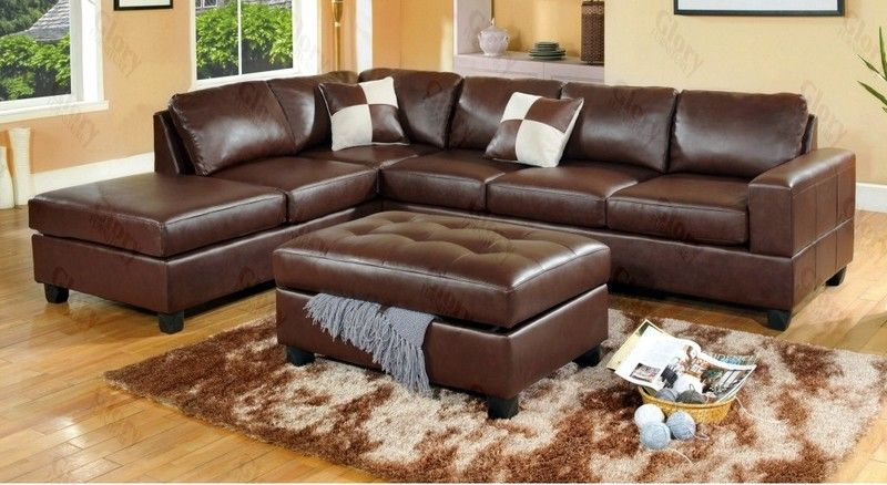 Attractive Awesome Leather Brown Sectional Sofa Cheap With Classic Ottoman