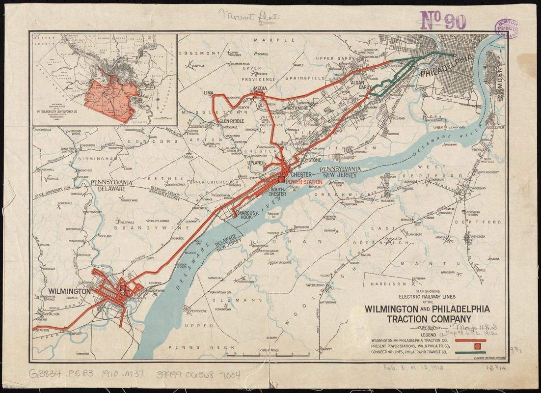 Map showing electric railway lines of the Wilmington and