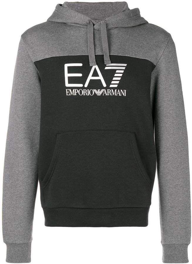 8c22cf47240 Emporio Armani Ea7 two-tone EA7 logo hoodie