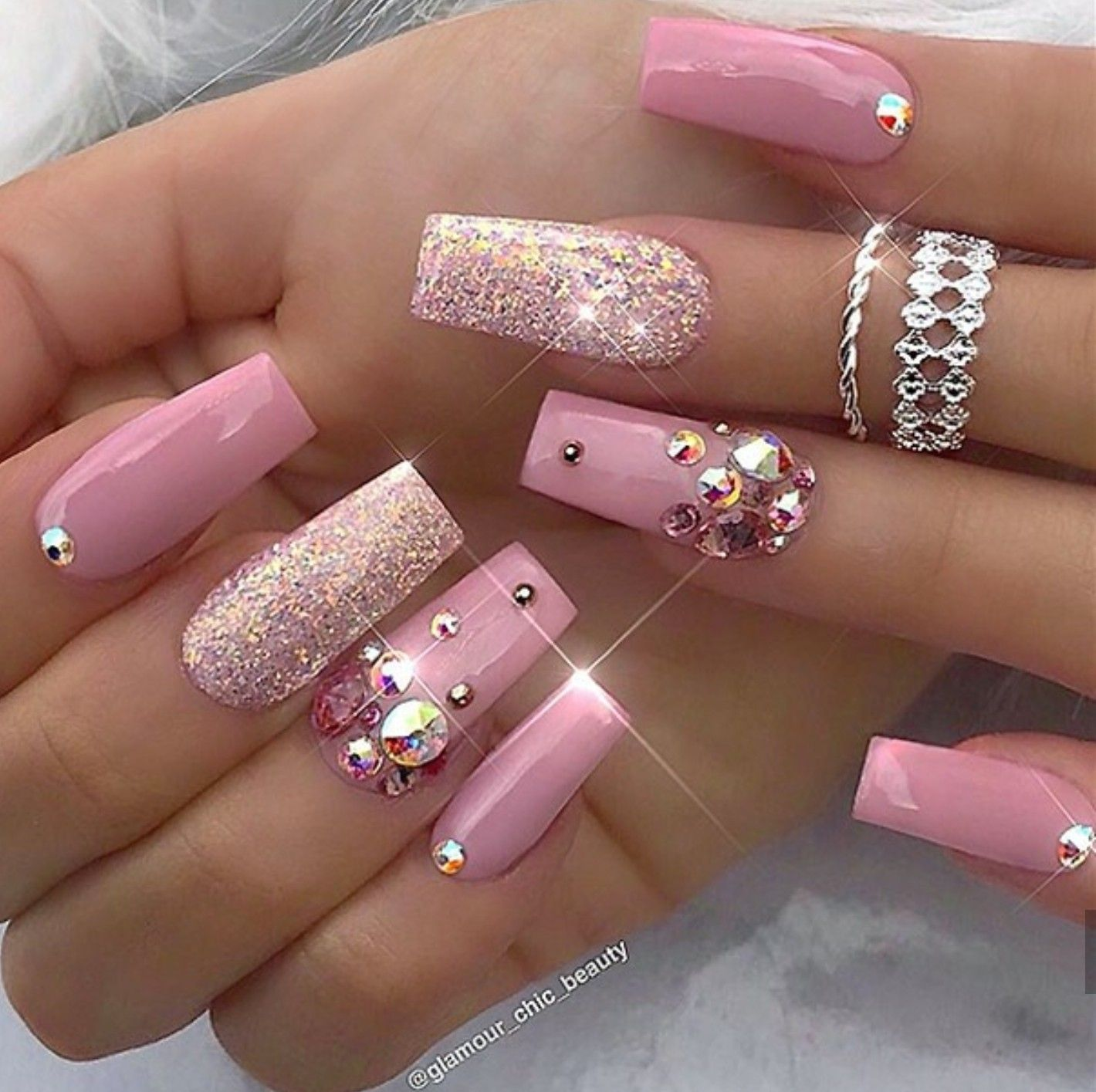 Tapered Square Nails Pink Glitter Nails Nails With Rhinestones