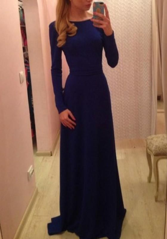 Sapphire Blue Plain Belt Backless Long Sleeve Maxi Dress
