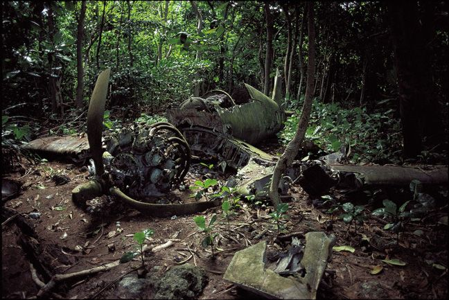 The wreck of an American corsair fighter; shown here in the late 1990's, lies near the B-24 wreck shown earlier. It is said that the plane crash-landed on the reef near the shore in 1944 before the airstrip was completed. It was hauled out of the water and moved to its present position in the jungle where it has rested since the war.