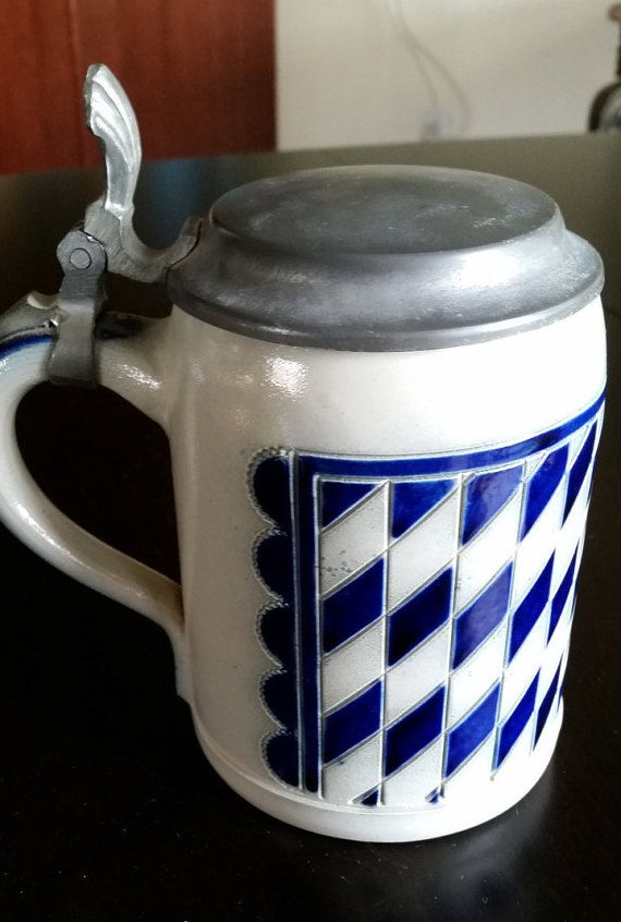 SOLD  Vintage Stein with Pewter Lid Echte by RoseMackenzieEstate on Etsy
