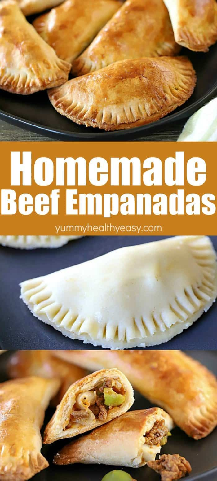 Homemade Beef Empanadas pretty much set the bar for incredible. When it comes to comfort foods, beef empanadas sit very high on the list of amazing! A homemade flaky crust with a delicious beef filling -- you will be so happy you made them! They make an incredible lunch or dinner! #AD #beef #empanadas #homemade #recipe #healthy #mexicanfood