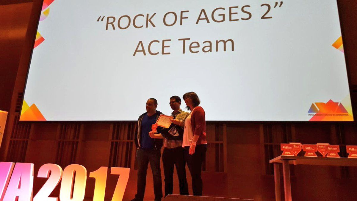 Rock of Ages 2 won the best Unreal Engine game at EVA2017!  We are happy and honored to receive this award!  http://www.rockofages2.com/  #ACETeam #AtlusUSA #Atlus #AtlusGames #Gaming #VideoGames #VideoGame #GameDev #GameDevelopment #IndieDev #IndieGame #IndieGames #PCGame #PCGames #PlayStation4 #PS4 #XboxOne #Steam #TowerDefense #Racing #RacingGame #RoA2 #RockOfAgesII #RockOfAges2 #UnrealEngine #UnrealEngine4 #UE4 #EVA #EVA2017