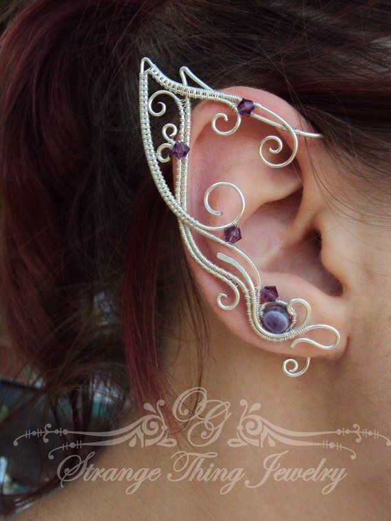 625c07952 A pair of elf ear cuffs made of silverplated copper wire, amethyst round  beads and cristal purple beads . The piece is covered by metal protecting  laquer.