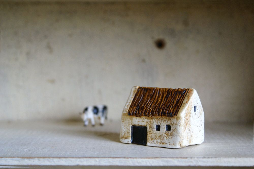 Miniature Irish Barn Hand Painted Paper Clay Handmade In
