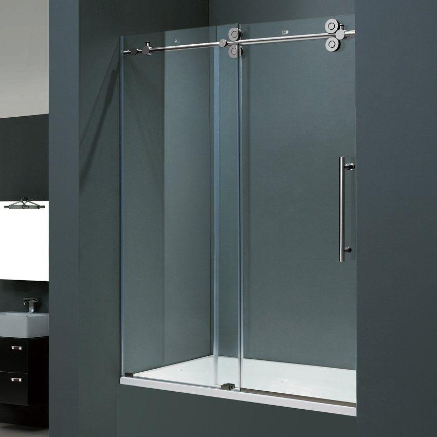 Vigo Industries Vg6041 Frameless Tempered Glass Sliding Tub Shower