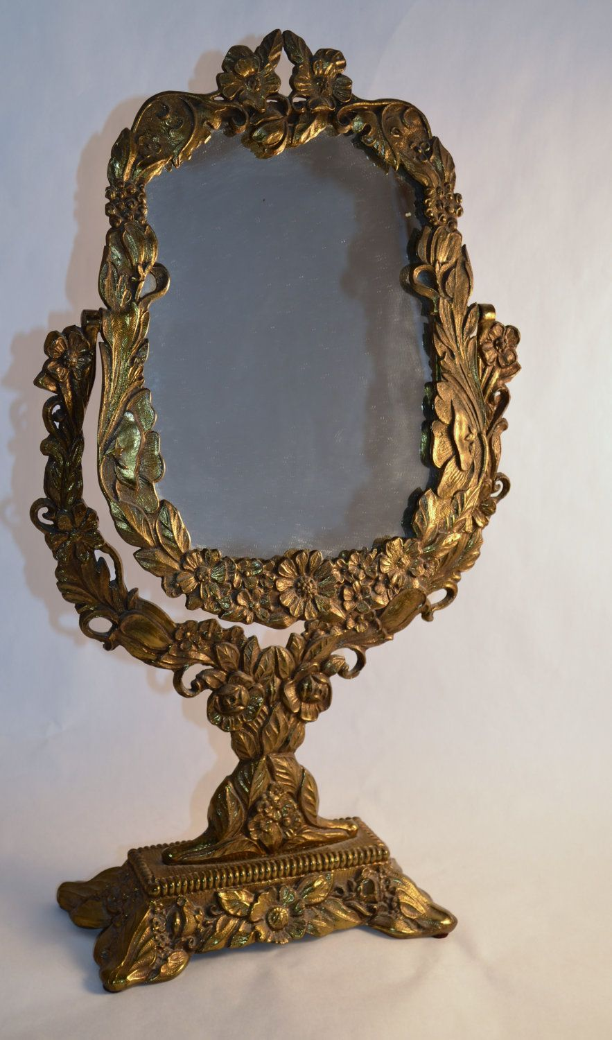 Vintage Ornate AntiqueGold Vanity Mirror. 75.00, via