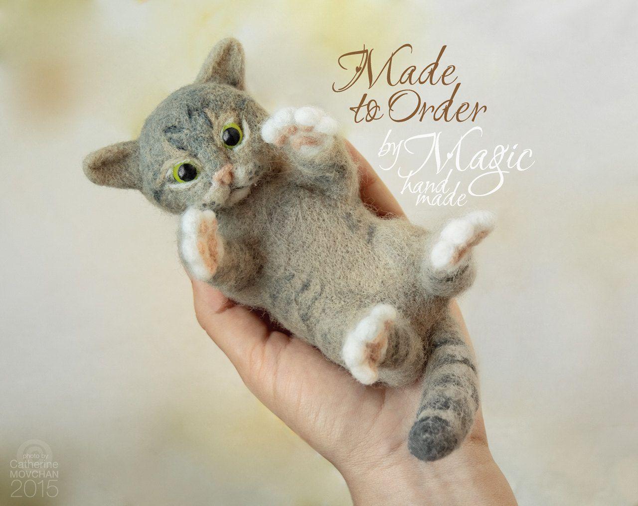 Custom needle felted cat sculpture, felt pet, custom cat