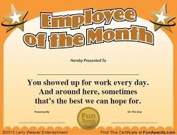 Employee Of The Month Certificate Template Free Image Result For Fun Awards For Employees  Fun  Pinterest