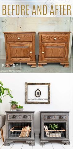 Before and After |$15 Nightstand Makeover | Salvaged Inspirations #siblog #salvagedinspirations #paintedfurniture #furniturepainting #DIYfurniture #furniturepaintingtutorials #howto #furnitureartist #furnitureflip #salvagedfurniture #furnituremakeover #beforeandafterfurnuture #paintedfurnituredieas #dixiebellepaint #redesignwithprima