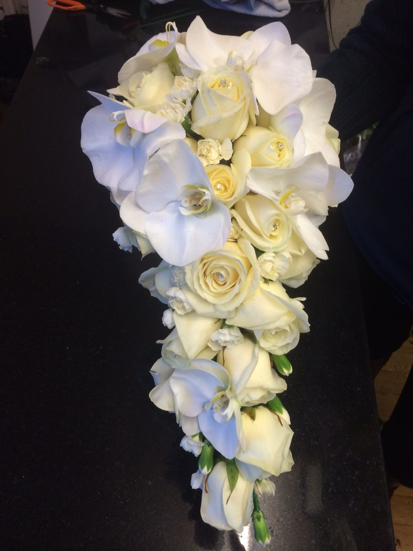 Brides Bouquet In Orchids And Roses Diamond And Crystal Cream And