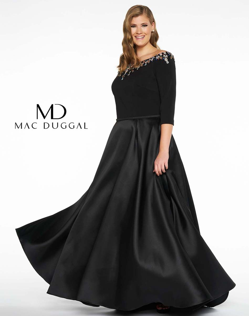 Plus size black ball gown with beaded boat neck bodice and satin ...