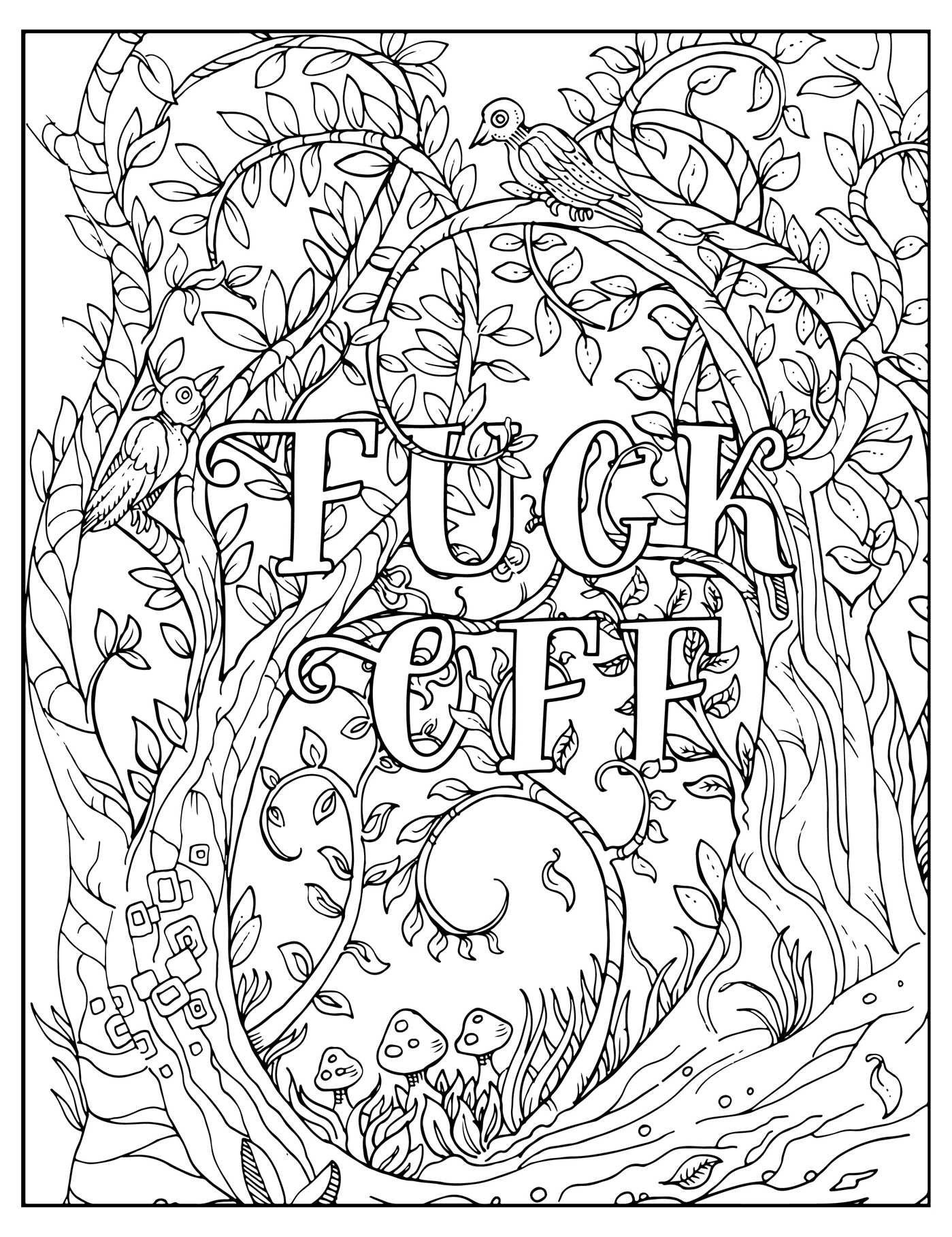 Adult Coloring Pages Swear Words - Fuck F I M Coloring Unwind with 50 Obnoxiously Fun Swear Word Printable #coloringpagestoprint