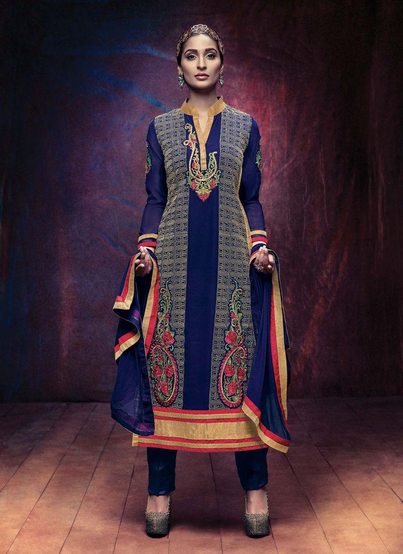 Simplistic lace work blue georgette designer straight salwar suit