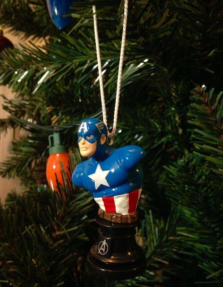 3 Mini Captain America Bust Ornament Marvel Statue Christmas Tree Avenger Decor Marvel Avengers Decorations Holiday Decor Christmas Marvel Statues
