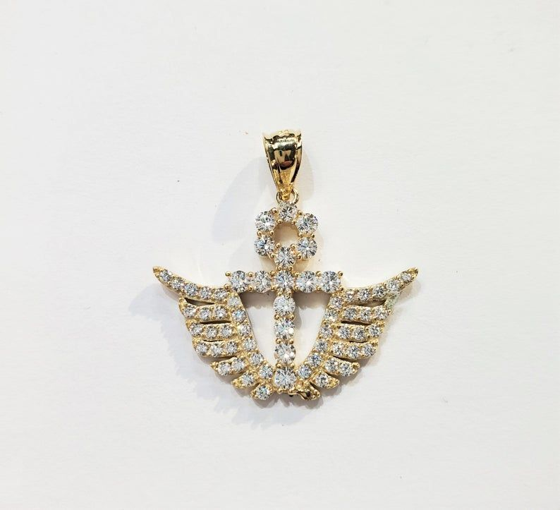 10k Yellow Gold Fine Jewelry Ankh Angel Wing Pendant In 2020 Wing Pendants Fine Gold Necklace Fine Jewelry