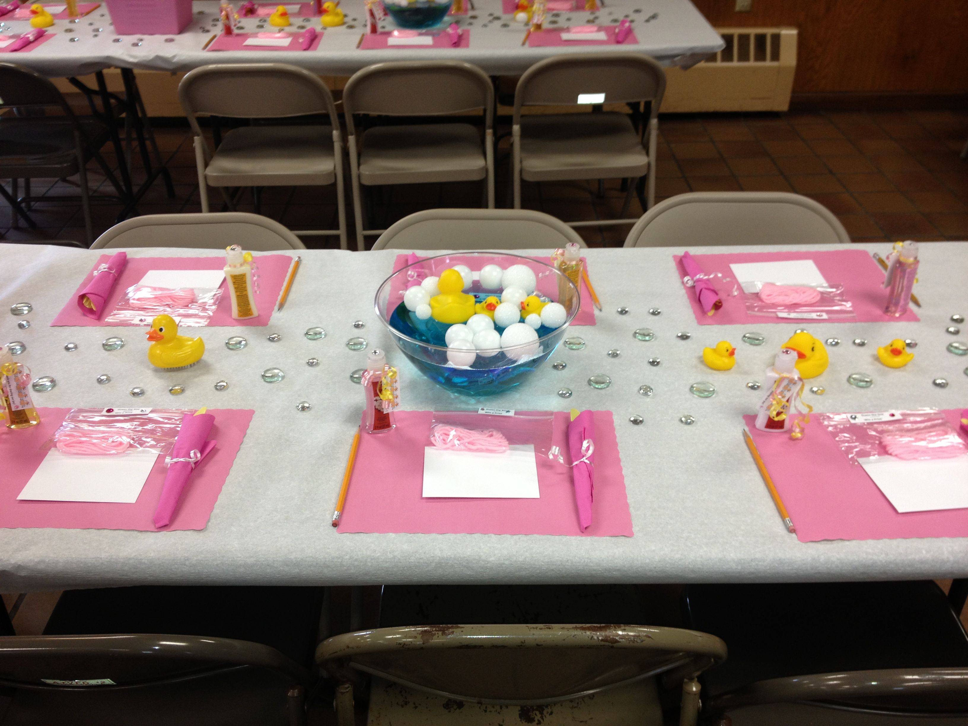 Baby Shower Table Decorations Rubber Ducks Bubbles Pink