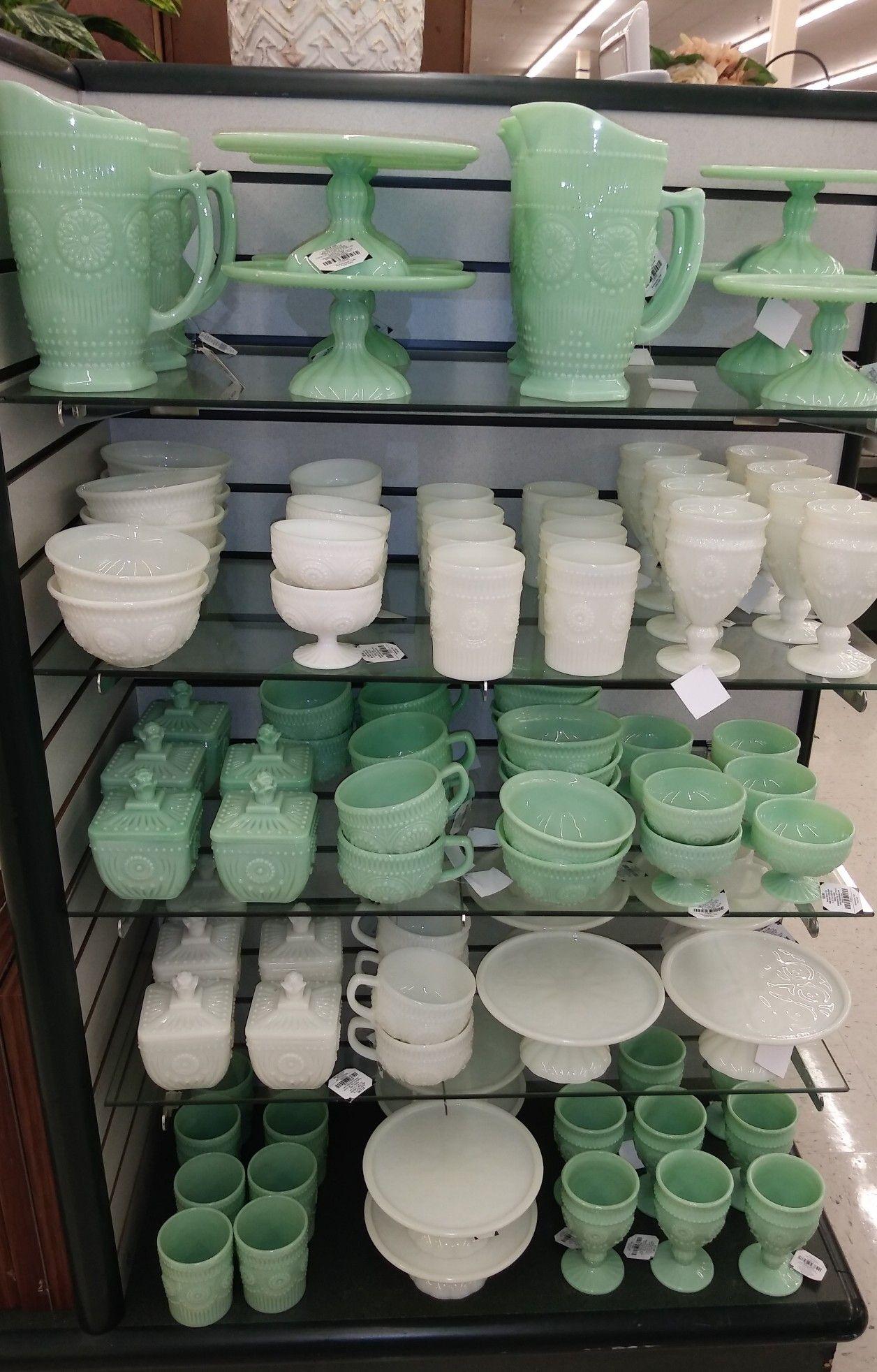 Milk Glass Decor, Green Milk