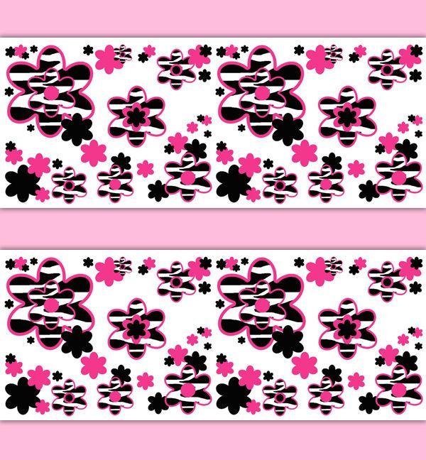 Hot Pink Zebra Animal Print Floral Wallpaper Border Wall Art Decals ...