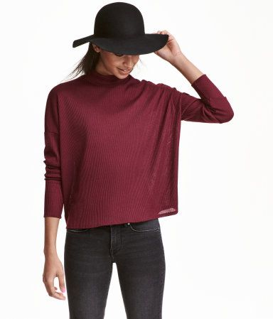 Burgundy. Oversized mock-turtleneck sweater in a soft rib knit ...