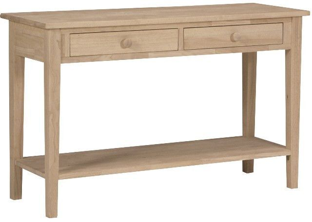 Spencer Hardwood Unfinished Sofa Table 48 Wide Wood Sofa Table Real Wood Furniture Bare Wood Furniture
