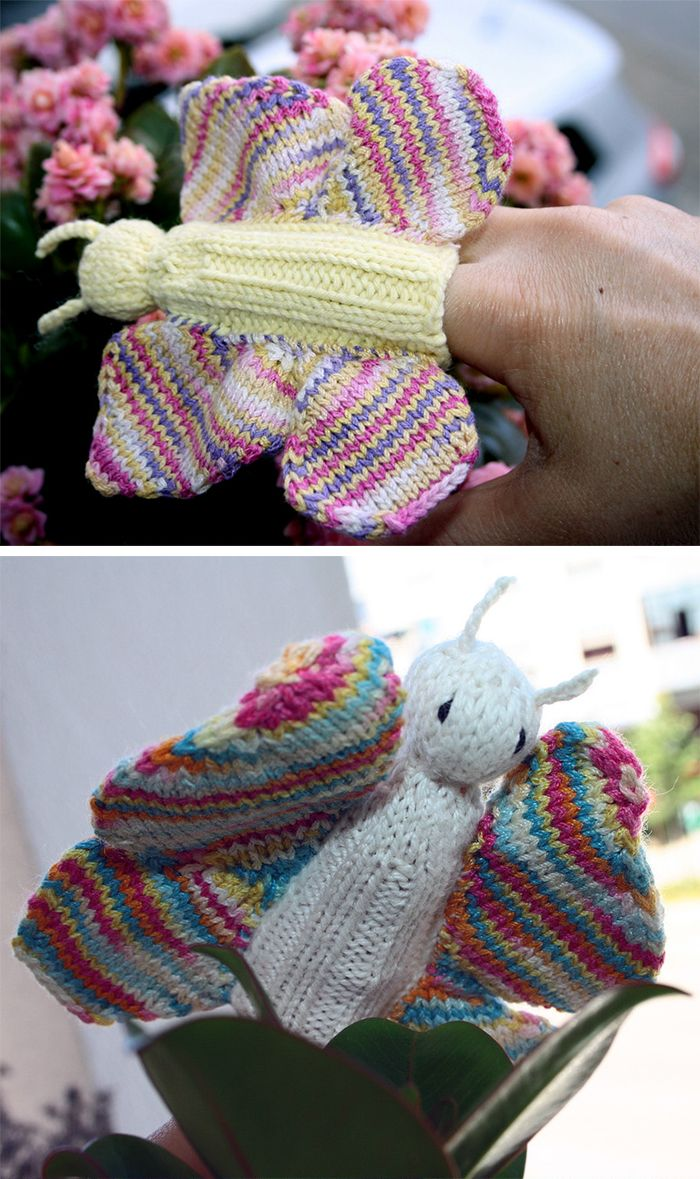 Free Knitting Pattern for Butterfly Finger Puppet - This butterfly ...