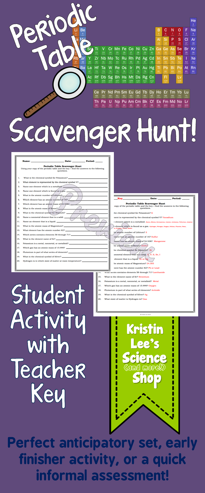 worksheet Periodic Table Scavenger Hunt Worksheet Middle School periodic table scavenger hunt middle school science class activity this 20 question hunt