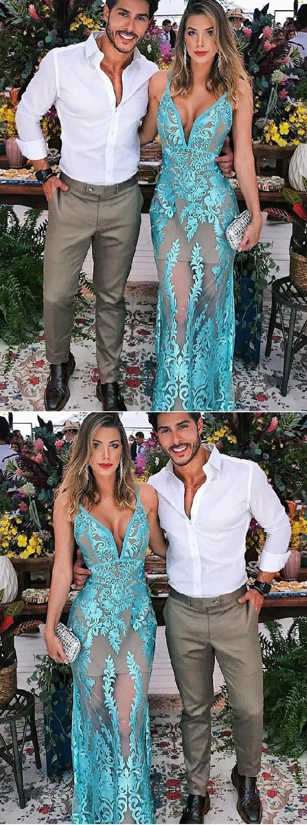 Appliques prom dresses vneck prom dresses simp prom