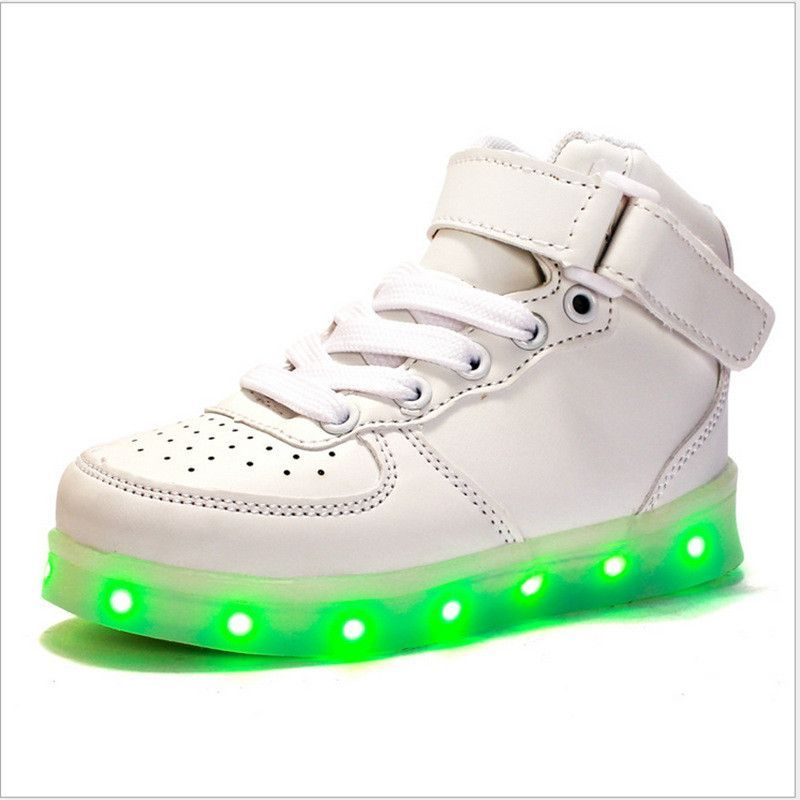 9e44f11335b4 7 Colors USB Rechagerable Fashion High Top Gold Kids Led Shoes Hook Loop  Girls Boys Light up Casual Shoes Children Led Shoes