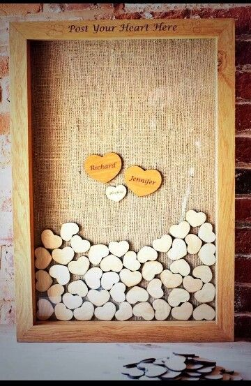 Wooden Hearts In A Frame Guest Book Idea Wedding Ideas
