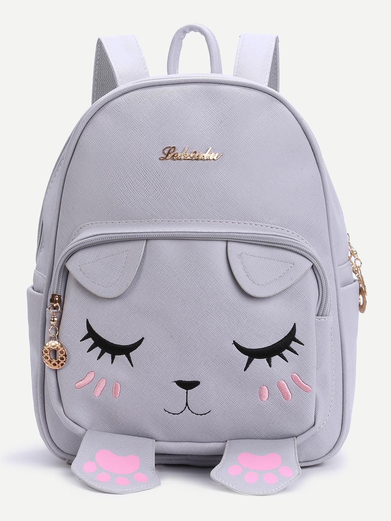 Shop Grey Cat Face Design Cute Backpack Online SheIn