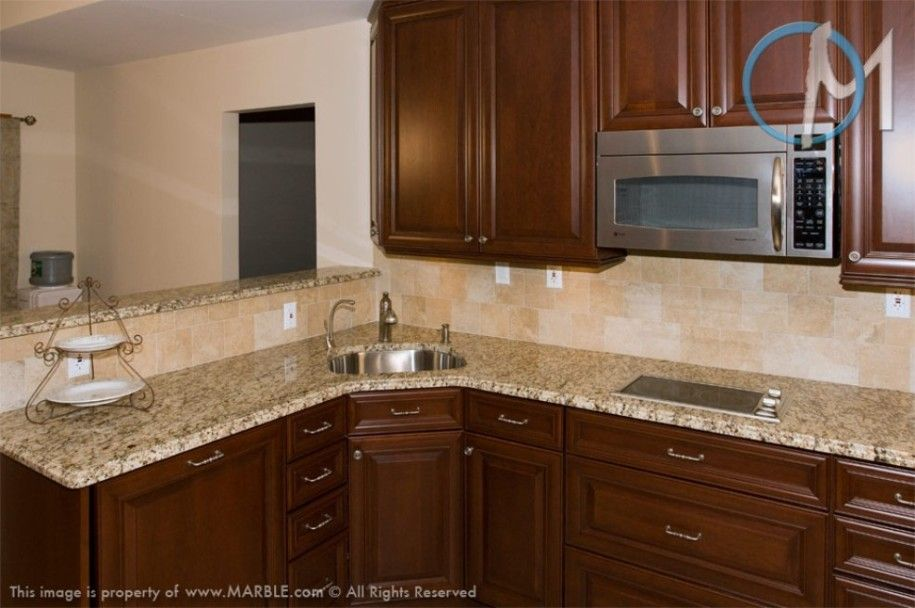 Backsplash With Gold Granite Countertop Venetian Gold