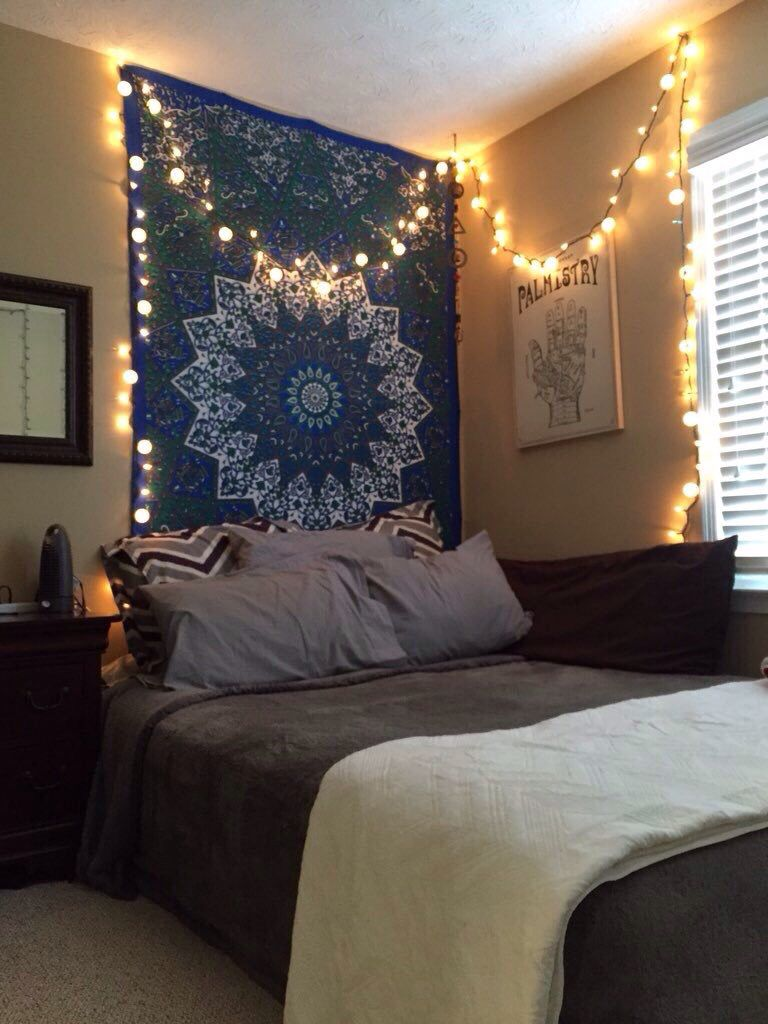 Tapestry And Firefly Lights Wall Tapestry Bedroom Comfortable Bedroom Tapestry Bedroom