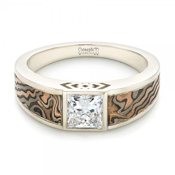 custom mokume inlay diamond mens wedding band joseph jewelry seattle bellevue online