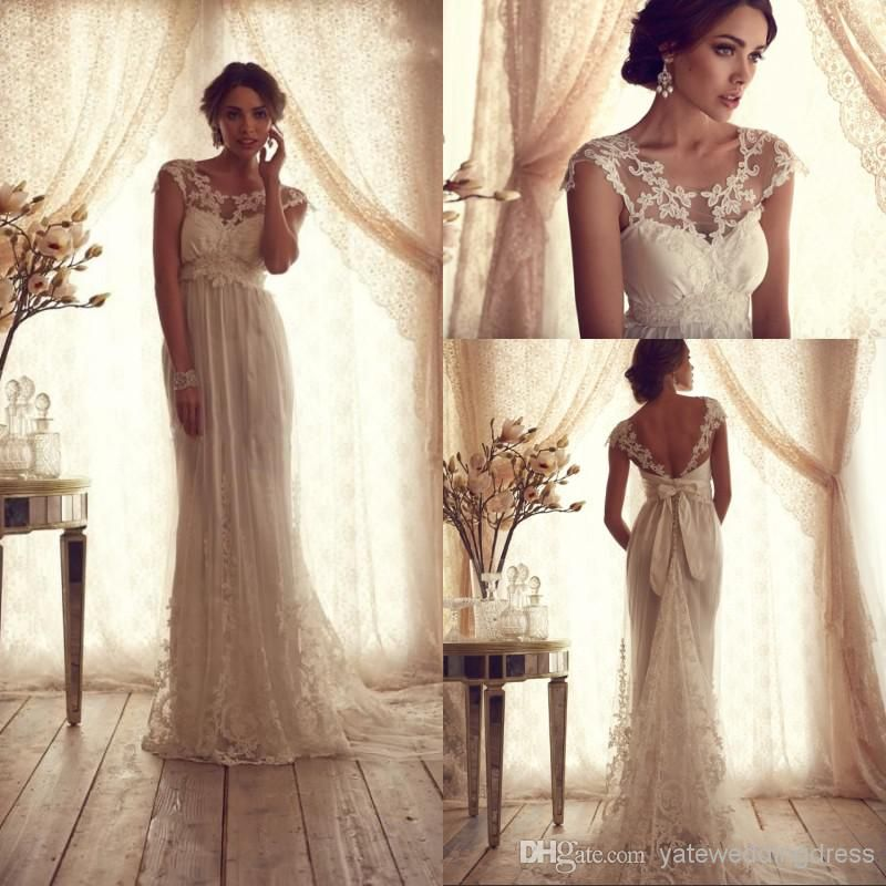 2014 Vintage Sheer Wedding Dresses Backless Lace Beach A