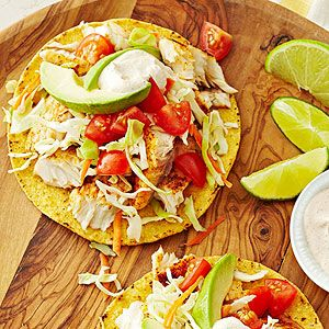 Fish Tostadas With Chili Lime Cream Recipe Mexican Food