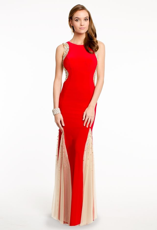 Beaded Illusion Side and Godet Dress from Camille La Vie and Group ...