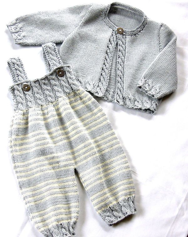 Baby overalls with detailed cabled bodice and matching sweater $5.00 ...