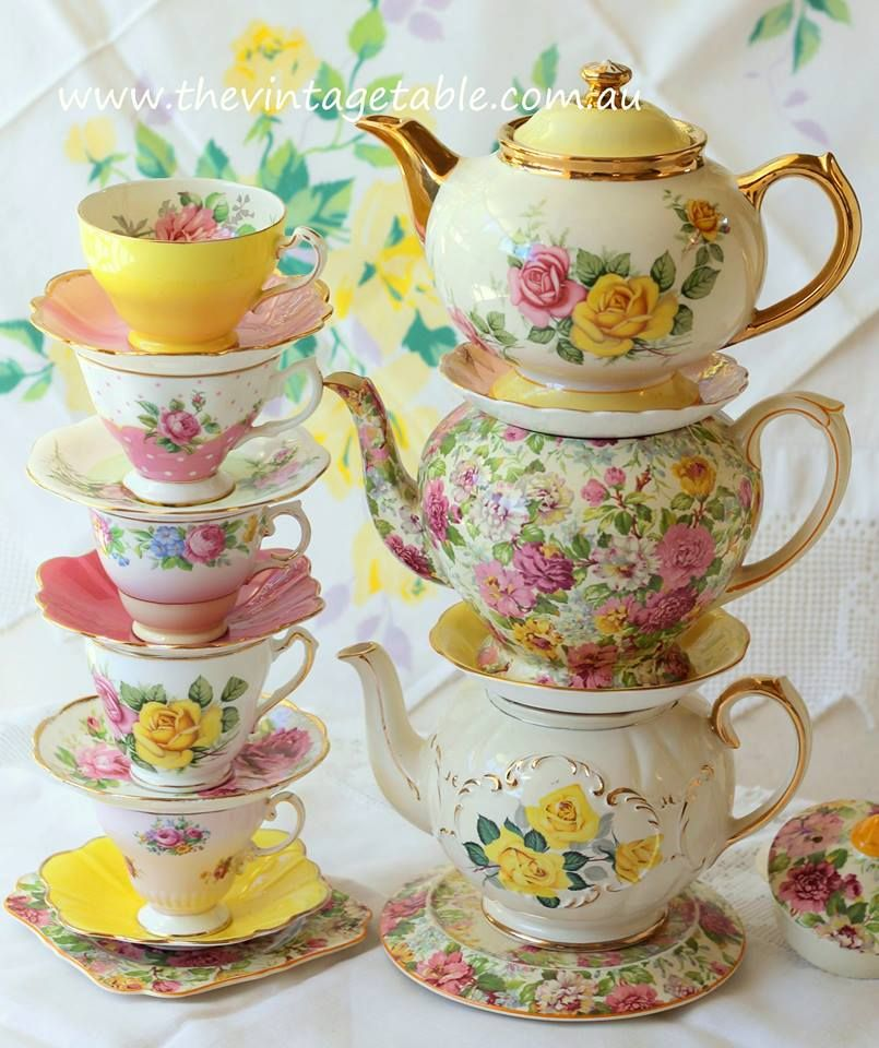 Mix N Match Teapots And Teacups With Pink And Yellow Roses Tea Tea Cups Vintage Tea Pots