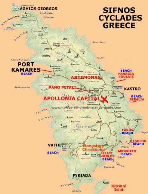 Carte Sifnos Grce Pinterest Greek islands